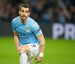 MANCHESTER, ENGLAND - Tuesday, February 18, 2014: Manchester City's Alvaro Negredo looks dejected against FC Barcelona during the UEFA Champions League Round of 16 match at the City of Manchester Stadium. (Pic by David Rawcliffe/Propaganda)