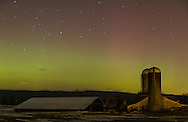 The northern lights shine behind a  barn and silos in Pine Bush, New York. A strong solar storm on St. Patrick's Day made the aurora borealis visible much further  south than usual. Pine Bush is about 80 miles north of New York City.
