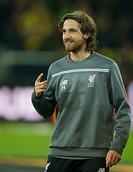 DORTMUND, GERMANY - Thursday, April 7, 2016: Liverpool's Joe Allen before the UEFA Europa League Quarter-Final 1st Leg match against Borussia Dortmund at Westfalenstadion. (Pic by David Rawcliffe/Propaganda)