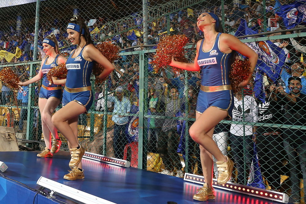 Mumbai Indians cheerleaders during the 2nd qualifier match of the Vivo 2017 Indian Premier League between the Mumbai Indians and the Kolkata Knight Riders held at the M.Chinnaswamy Stadium in Bangalore, India on the 19th May 2017<br /> <br /> Photo by Faheem Hussain - Sportzpics - IPL