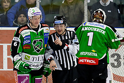 Bostjan Groznik (HDD Tilia Olimpija, #6) talking to linesman during ice-hockey match between HDD Tilia Olimpija and SAPA Fehervar AV19 at second match in Quarterfinal  of EBEL league, on Februar 21, 2012 at Hala Tivoli, Ljubljana, Slovenia. (Photo By Matic Klansek Velej / Sportida)
