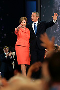 The Republican National Convention in Madison Square Garden. President George W. Bush delivers his acceptance speach after being officially nominated as the Republican Presidential Candidate for the 2004 Election. First Lady Bush joined him on stage after the speach.