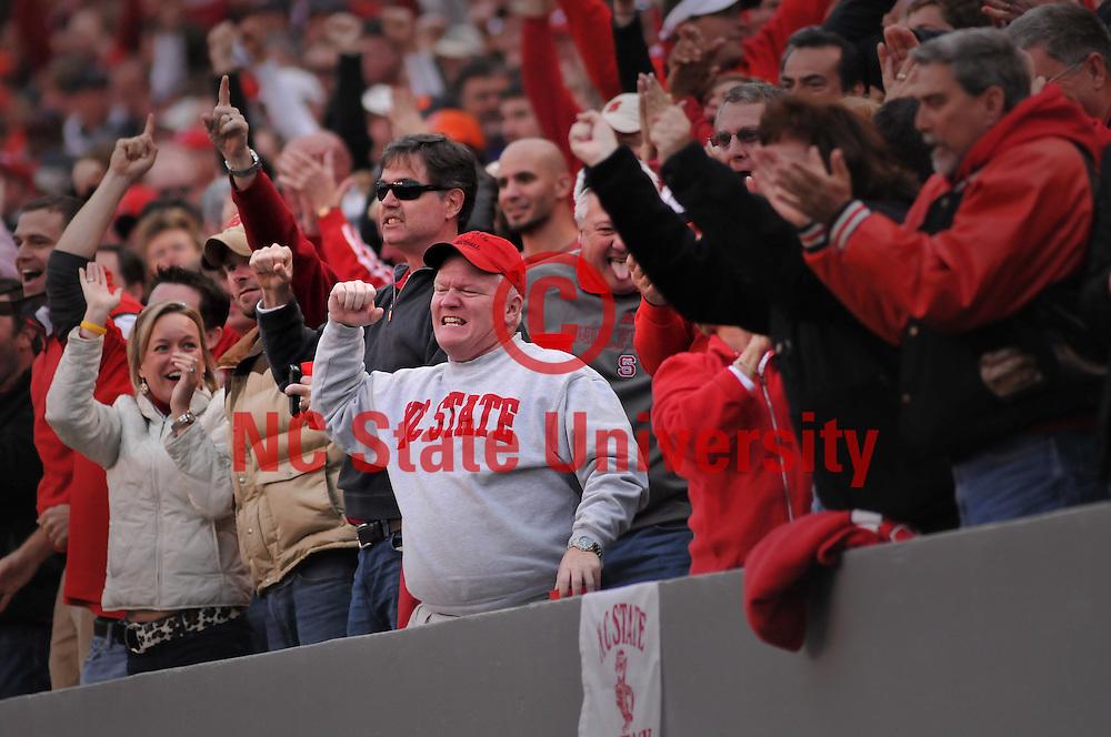 Wolfpack fans celebrate a touchdown against Clemson.