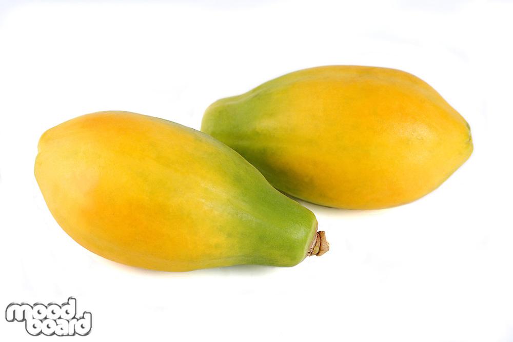 Papaya on white background - close-up