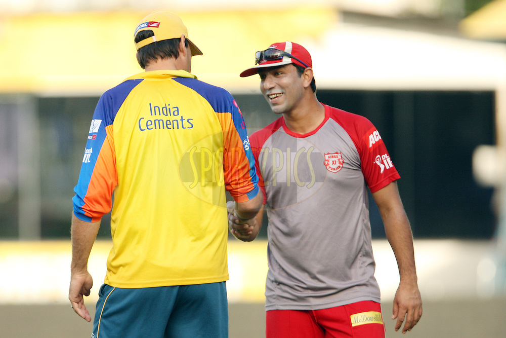 Azhar Mahmood talks to Stephen Fleming during a practice session of the Chennai Super Kings and Kings XI Punjab in the the Indian Premier League ( IPL) 2012 held at the M. A. Chidambaram Stadium, Chennai on the 27th April 2012..Photo by Jacques Rossouw/IPL/SPORTZPICS