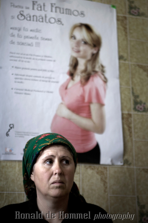 2008-04-10 Parcani, Moldova. A woman is waiting to be treated in a tiny healthpost in Parcani, a tiny village 1 1/2 hrs drive from the Moldovan capital Chisinau. The Roma village is totally forgotten by the authorities. There's no work, no infrastructure, just a few muddy tracks, a healthpost  that's rarely open and has to deal with a TBC outbreak.