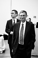 Bill Gates and Norwegian PM Jens Stoltenberg entering Astrup Fearnley Museum to about international health.