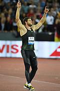 Andreas Hofmann (GER) celebrates after winning the javelin at 300-0 (91.44m) during the Weltklasse Zurich in an IAAF Diamond League meeting at Letzigrund Stadium in Zurich, Switzerland on Thursday, August 30, 2018.(Jiro Mochizuki/Image of Sport)