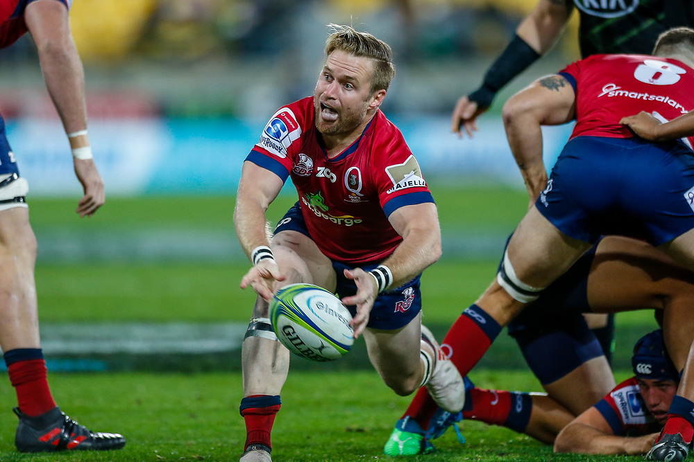 Ben Lucas passes the ball during the Super rugby union game (Round 14) played between Hurricanes v Reds, on 18 May 2018, at Westpac Stadium, Wellington, New  Zealand.    Hurricanes won 38-34.