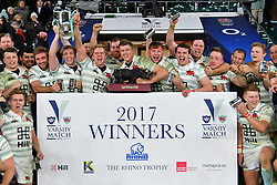 December 7, 2017 - London, England, United Kingdom - Cambridge are 2017 winners of the Varsity match between Oxford University  and Cambridge University  at Twickenham Stadium, London, England on 7 Dec 2017. (Credit Image: © Kieran Galvin/NurPhoto via ZUMA Press)