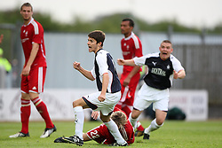 Ryan Flynn cele scoring Falkirk's goal.<br /> Falkirk 1 v 0 FC Vaduz, Europa League Qualifying.<br /> &copy;2009 Michael Schofield. All Rights Reserved.