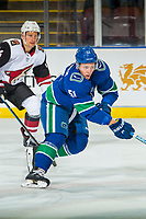 KELOWNA, BC - SEPTEMBER 29:  Troy Stecher #51 of the Vancouver Canucks skates against the Arizona Coyotes at Prospera Place on September 29, 2018 in Kelowna, Canada. (Photo by Marissa Baecker/NHLI via Getty Images)  *** Local Caption *** Troy Stecher