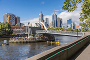 Yarra River and Pedestrian Footbridge with Melbourne Skyline