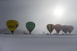 11.02.2015, Zell am See - Kaprun, AUT, BalloonAlps, im Bild einige Heissluftballone am Boden // BalloonAlps, The Alps Crossing Event balloonalps is Austria's international Winter balloon week in front of the backdrop of the Hohe Tauern, Zell am See Kaprun on 2015/02/11, . EXPA Pictures © 2014, PhotoCredit: EXPA/ JFK