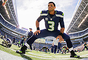 Seattle Seahawks quarterback Russell Wilson (3) stretches before an NFL football game against the San Francisco 49ers, Sunday, Sept. 25, 2016, in Seattle. The Seahawks defeated the 49ers, 37-18. (Ryan Kang via AP)