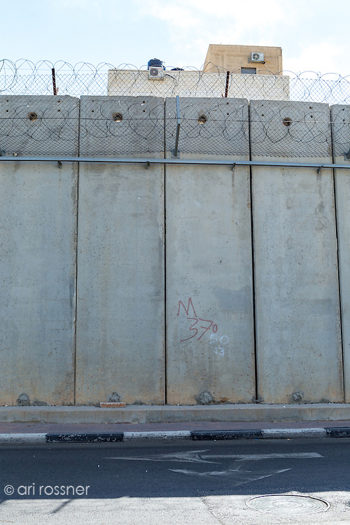 The separation barrier between Palestinian territory and the Northern part of Jerusalem