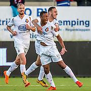 VELSEN - 22-08-2016, Telstar - Helmond Sport, Rabobank IJmond Stadion, SC Telstar speler Crescendo van Berkel heeft de 1-0 gescoord (m), SC Telstar speler Oussama Zamouri (r), SC Telstar speler Guyon Philips (l)