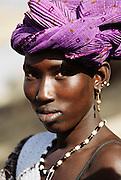 Woman at the Saturday market in Kouakourou, Mali. Africa.