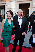 SUNNY OZELL; PATRICK STEWART, Olivier Awards 2012, Royal Opera House, Covent Garde. London.  15 April 2012.