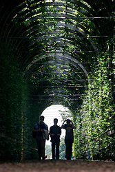 UK ENGLAND SURREY HAMPTON COURT PALACE 19JUL04 - Visitors walk through a floral archway at the Privvy Garden at Hampton Court Palace. The Palace and its famous royal gardens were founded by King Henry VIII in the sixteenth century and were developed through the centuries by subsequent sovereigns, determined to have the most fashionable and elegant gardens of their era. 2004 is the Year of the Garden at Hampton Court Palace and it is celebrated by a series of special events like the Tudor-costumed garden tours.....jre/Photo by Jiri Rezac ....© Jiri Rezac 2004....Contact: +44 (0) 7050 110 417..Mobile:  +44 (0) 7801 337 683..Office:  +44 (0) 20 8968 9635....Email:   jiri@jirirezac.com..Web:    www.jirirezac.com....© All images Jiri Rezac 2004 - All rights reserved.