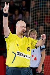 Referee Viktor Olah (HUN) at handball match of Round 2 of Champions League between RK Krim Mercator and Aalborg DH, on October 31, 2009, in Arena Kodeljevo, Ljubljana, Slovenia.  Krim won 30:23. (Photo by Vid Ponikvar / Sportida)