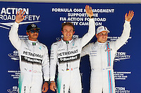 Qualifying top three in parc ferme (L to R): Lewis Hamilton (GBR) Mercedes AMG F1, second; Nico Rosberg (GER) Mercedes AMG F1, pole position; Valtteri Bottas (FIN) Williams, third.<br /> United States Grand Prix, Saturday 1st November 2014. Circuit of the Americas, Austin, Texas, USA.