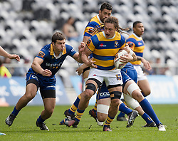 Bay of Plenty's Jess Parete, right, makes a run as Otago's Dillon Hunt lines up a tackle in the Mitre 10 Cup rugby match, Forsyth Barr Stadium, Dunedin, New Zealand, Oct. 7 2017.  Credit:SNPA / Adam Binns ** NO ARCHIVING**