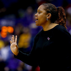 Mar 26, 2013; Baton Rouge, LA, USA; Penn State Lady Lions head coach Coquese Washington  in the first half against the LSU Tigers during the second round of the 2013 NCAA womens basketball tournament at Pete Maravich Assembly Center. Mandatory Credit: Derick E. Hingle-USA TODAY Sports