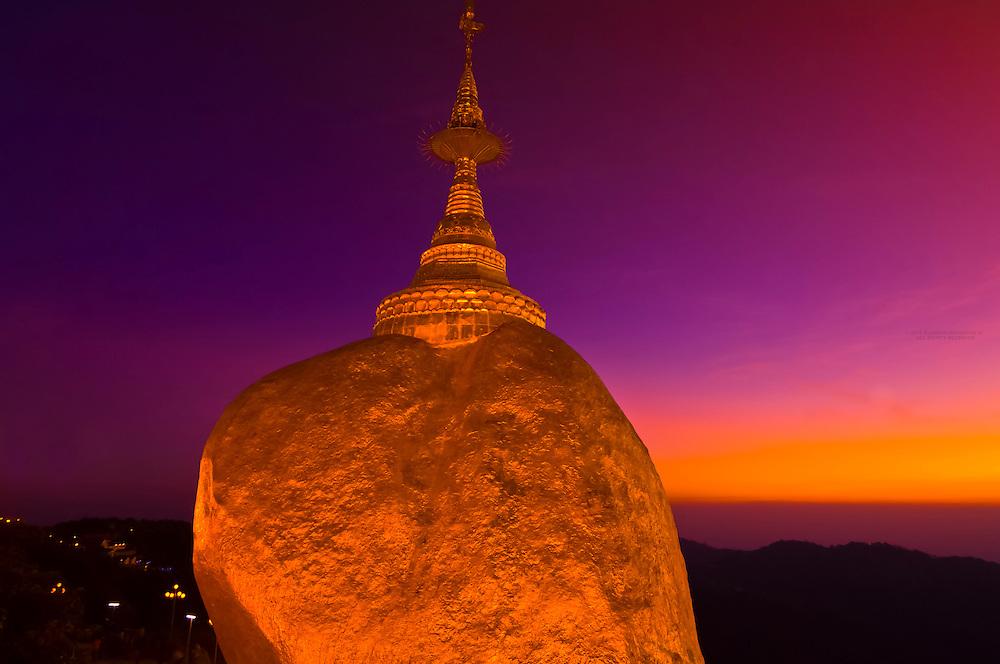 Golden Rock at twilight, Kyaikhtiyo Pagoda, Mon State, Myanmar (Burma)