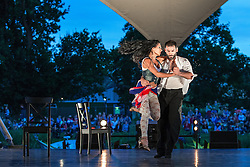 Image ©Licensed to i-Images Picture Agency . 17/07/2014 . Henham Park , Suffolk , United Kingdom . Performance of contemporary Tango by Argentinean duo and World Tango Champions , German Cornejo and Gisela Galeassi , presented by Sadler's Wells . The Latitude Festival of music and arts . Picture by Joel Goodman/i-Images