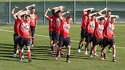 04.10.2011, Bad Tatzmannsdorf, AUT, OeFB, Nationalmannschaft Teamtraining, im Bild aufwärmen des Teams, EXPA Pictures © 2011, PhotoCredit: EXPA/ Erwin Scheriau