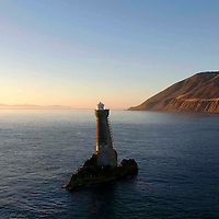 North and South Islands from Karori Rock Lighthouse, Cook Strait, New Zealand