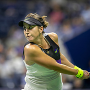 2019 US Open Tennis Tournament- Day Eleven.  Belinda Bencic of Switzerland in action against Bianca Andreescu of Canada in the Women's Singles Semi-Finals match on Arthur Ashe Stadium during the 2019 US Open Tennis Tournament at the USTA Billie Jean King National Tennis Center on September 5th, 2019 in Flushing, Queens, New York City.  (Photo by Tim Clayton/Corbis via Getty Images)