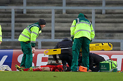 LIVERPOOL, ENGLAND - Tuesday, December 9, 2014: Liverpool's Samuel Hart is carried off on a stretcher against FC Basel during the UEFA Youth League Group B match at Langtree Park. (Pic by David Rawcliffe/Propaganda)