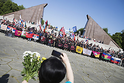May 9, 2018 - Berlin, Germany - Members of the Russian biker club Night Wolves People arrive to commemorate on the 73rd anniversary of the victory of the Soviet Red Army over Nazi Germany at the Soviet World War II cemetery and memorial in Treptow on May 9, 2018 in Berlin, Germany. (Credit Image: © Emmanuele Contini/NurPhoto via ZUMA Press)