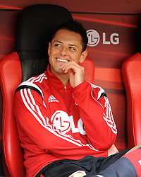 12.09.2015, BayArena, Leverkusen, GER, Bayer 04 Leverkusen vs SV Darmstadt 98, 4. Runde, im Bild Javier Hernandez Chicharito (Bayer 04 Leverkusen) gut gelaunt auf der Ersatzbank bei seinem ersten Auftritt in der Bundesliga. // during the German Bundesliga 4th round match between Bayer 04 Leverkusen and SV Darmstadt 98 at the BayArena in Leverkusen, Germany on 2015/09/12. EXPA Pictures © 2015, PhotoCredit: EXPA/ Eibner-Pressefoto/ Thienel<br /> <br /> *****ATTENTION - OUT of GER*****