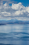 Mt. Huayna Potosi in  the Cordillera Real mountain range as seen from Lake Titicaca, Bolivia