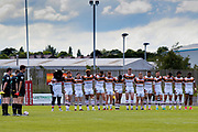Bradford Bulls players hold a minutes silence for the London bombings during the Kingstone Press Championship match between Dewsbury Rams and Bradford Bulls at the Tetley's Stadium, Dewsbury, United Kingdom on 4 June 2017. Photo by Simon Davies.