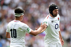 Marcus Smith of the England XV celebrates his try with team-mate Josh Beaumont - Mandatory byline: Patrick Khachfe/JMP - 07966 386802 - 02/06/2019 - RUGBY UNION - Twickenham Stadium - London, England - England XV v Barbarians - Quilter Cup International