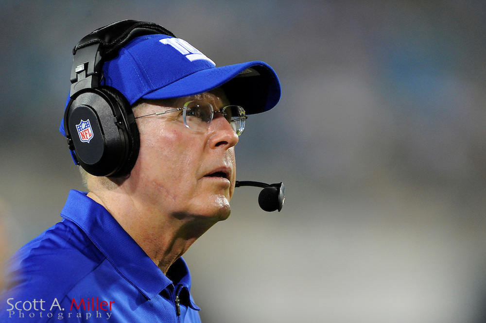New York Giants head coach Tom Coughlin during the Giants NFL preseason game against the Jacksonville Jaguars at EverBank Field on August 10, 2012 in Jacksonville, Florida. ..©2012 Scott A. Miller..