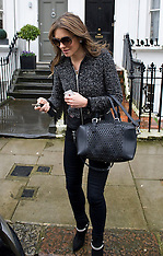 FEB 06 2014 Elizabeth  Hurley outside her home in London