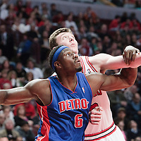 30 October 2010: Chicago Bulls Omer Asik vies for a rebound with Detroit Pistons Ben Wallace during the Chicago Bulls 101-91 victory over the Detroit Pistons at the United Center, in Chicago, Illinois, USA.