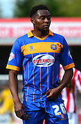 Goalscorer Jean-Louis Akpo Akpro during the Sky Bet League 2 match between Cheltenham Town and Shrewsbury Town at Whaddon Road, Cheltenham, England on 25 April 2015. Photo by Alan Franklin.