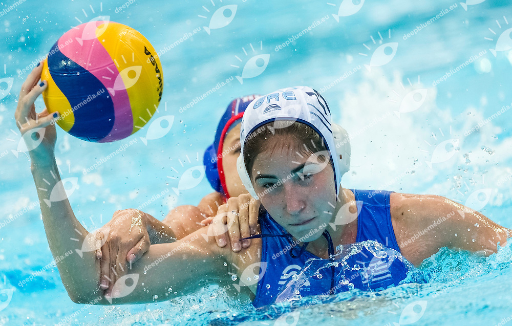 GRE vs RUS<br /> Greece (White) - Russia (Blue)<br /> 5 th - 8th<br /> PLEVRITOU Eleftheria GRE<br /> Day 13 05/08/2015<br /> Waterpolo Women<br /> XVI FINA World Championships Aquatics<br /> Kazan Tatarstan RUS July 24 - Aug. 9 2015 <br /> Photo Pasquale Mesiano/Deepbluemedia/Insidefoto