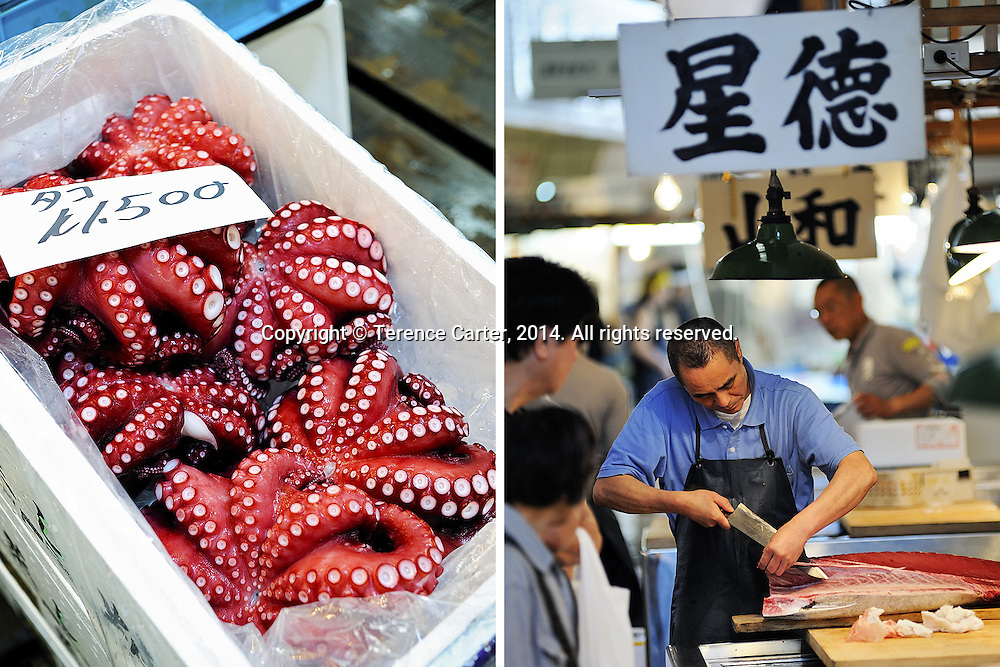 Tsukiji Market, Tokyo, Japan. Copyright 2014 Terence Carter / Grantourismo. All Rights Reserved.