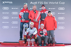 17.03.2019, Soldeu, AND, FIS Weltcup Ski Alpin, Siegerehrung, Nationenwertung, im Bild v.l. Mag. Jürgen Kriechbaum (Sportlicher Leiter ÖSV Ski Alpin Damen), Hans Pum (ÖSV Sportdirektor), Andreas Puelacher (Sportlicher Leiter ÖSV Ski Alpin Herren) mit den Kugeln für die Nationenwertungen, vorne Herren Marcel Hirscher mit der grossen Kristallkugel für den Sieg im Gesamtweltcup, Nicole Schmiedhofer mit der kleinen Kristallkugel für den Abfahrtsweltcup, Prof. Peter Schröcksnadel (ÖSV Präsident), // f.l. Juergen Kriechbaum Austrian Ski Association head Coach alpine Ladies Hans Pum Austrian Ski Association sporting director Andreas Puelacher Austrian Ski Association head Coach alpine Men's wit the kristall globe for the nation cup ll over worlcupwinner Men Marcel Hirscher of Austria with the big crystal globe and his tow small crystal globes nicole Schmiedhofer of Austria with the small crystal glob für the Downhill Worldcup Peter Schroecksnadel Austrian Ski Association President during the Nations Cup winner Ceremony for the Worlcup of FIS Ski Alpine World Cup finals. Soldeu, Andorra on 2019/03/17. EXPA Pictures © 2019, PhotoCredit: EXPA/ Erich Spiess