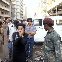 A woman reacts amid the aftermath of a car bomb that exploded in Beirut, Lebanon in 1981.