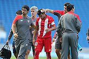 José Antonio Reyes of Sevilla goes off injured during the Pre-Season Friendly match between Brighton and Hove Albion and Sevilla at the American Express Community Stadium, Brighton and Hove, England on 2 August 2015.