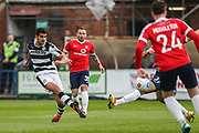 Forest Green Rovers Omar Bugiel(11) shoots at goal scores a goal 0-1 during the Vanarama National League match between York City and Forest Green Rovers at Bootham Crescent, York, England on 29 April 2017. Photo by Shane Healey.