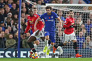 Manchester United Forward Romelu Lukaku battles with Chelsea's Cesc Fabregas during the Premier League match between Chelsea and Manchester United at Stamford Bridge, London, England on 5 November 2017. Photo by Phil Duncan.